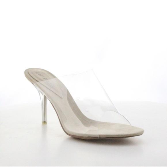 d684e18b43e5 Nude Transparent Clear Mule Heels